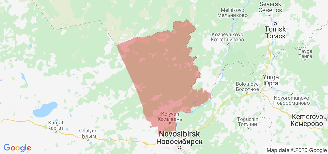 Карта Колыванского района Новосибирской области с границами